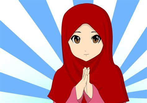 anime islam bergerak gambar kartun muslimah cantik berhijab animasi bergerak