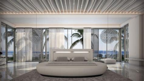 lit moderne rond simili cuir blanc kovel avec lumiere