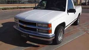 1995 White Chevy Truck Driving