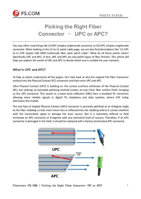 apc si鑒e social picking the right fiber connector upc or apc