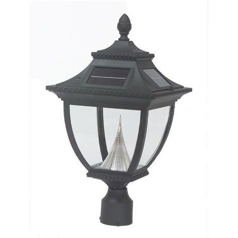 gama sonic pagoda solar black outdoor led post light on 3