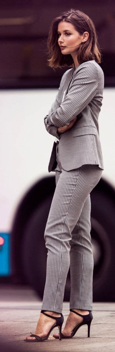 Office Wear Elegant Business Attire Grey Suit With Strapped Heels Fashion Inspirations