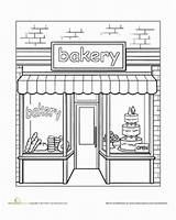 Bakery Coloring Education Town Worksheet Pages Places Adult Colouring Preschool Paint Sheets Drawing Adults Worksheets Around Shops Bakeries Storefronts Food sketch template