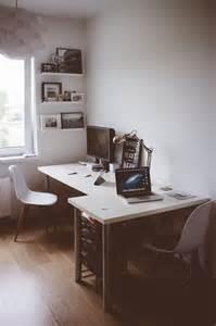 l shaped 2 person ikea desk setup office workspace