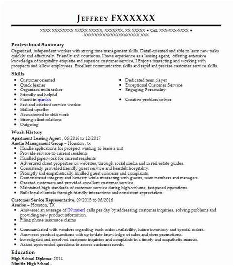 Leasing Consultant Resume Sle by Apartment Leasing Objectives Resume Objective