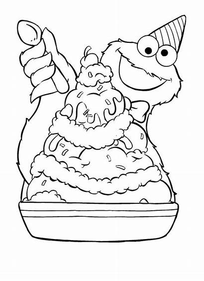 Coloring Ice Cream Pages Cookie Monster Printable