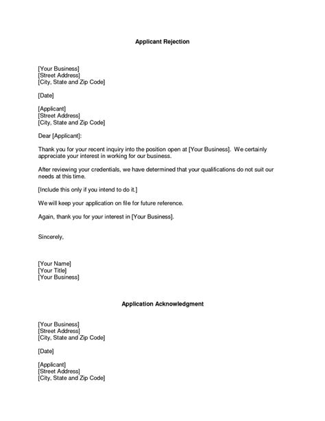 business rejection letter rejection  proposal