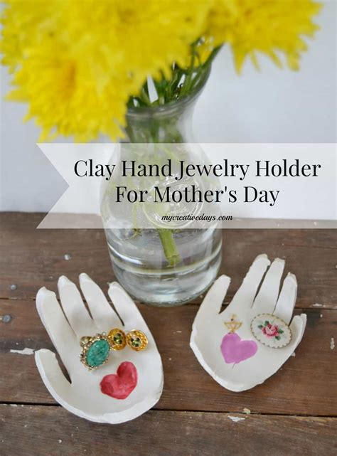 diy clay hand jewelry holder  mothers day