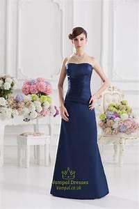 Navy Blue Bridesmaid Dresses Long,Navy Blue Strapless Knee ...
