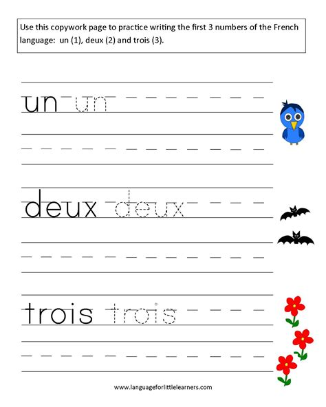 french worksheets numbers french learning french