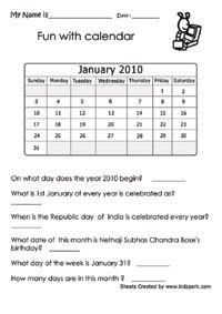 calendar worksheets activity sheets  kids