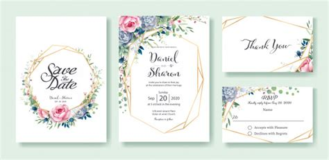 Wedding invitation card template Vector Premium Download