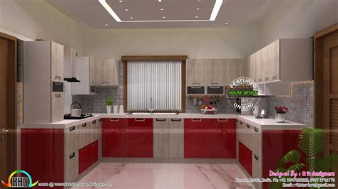 Modular kitchen, dining bedroom interiors - Kerala home