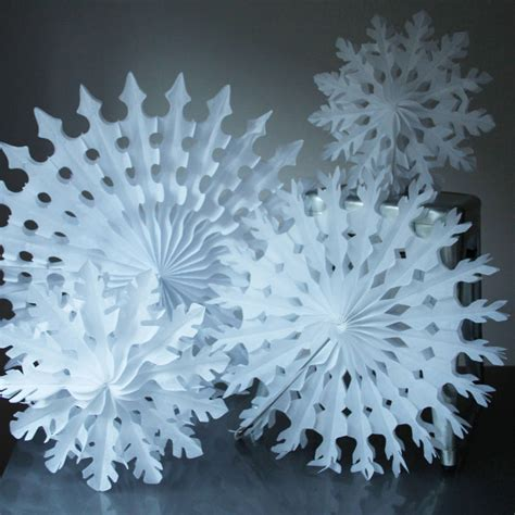 paper tissue snowflake christmas decorations  pearl
