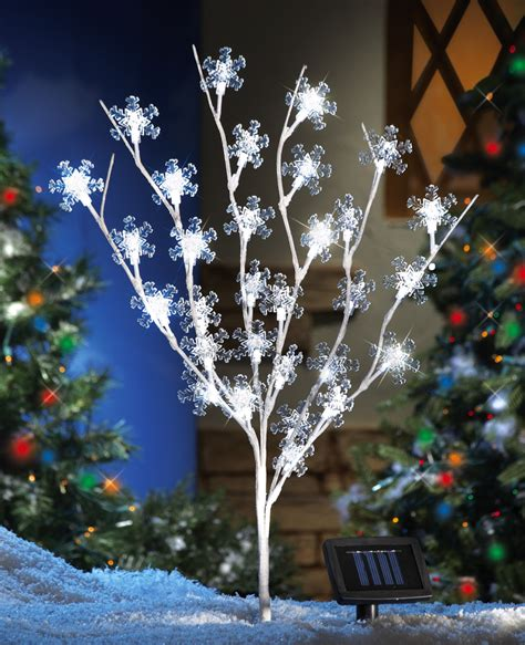 35 quot solar powered snowflake tree white lights outdoor