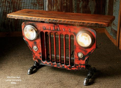 jeep grill art steunk industrial jeep willys grill table stand or