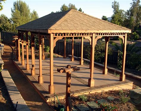 Gazebo : Red Cedar Single Roof Rectangle Gazebos