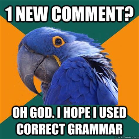 Correct Grammar Meme - 1 new comment oh god i hope i used correct grammar paranoid parrot quickmeme