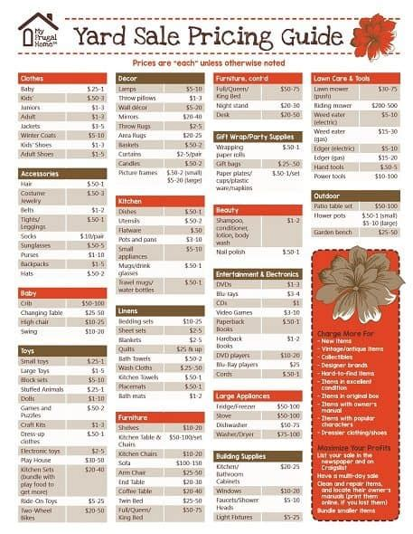 how to price garage items printable yard pricing guide