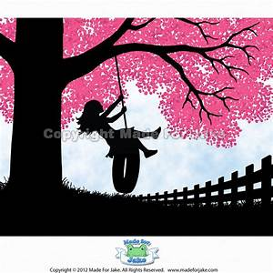 Girl Silhouette tire swing pink cherry blossom tree art print