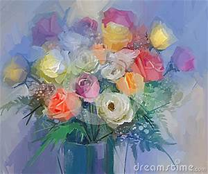 Still Life A Bouquet Of Flowers Oil Painting Red And
