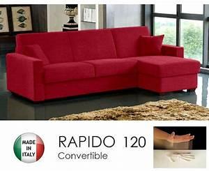 Canape Angle Rouge : canape d 39 angle dreamer rapido 120cm tweed rouge matelas memoire de forme ~ Teatrodelosmanantiales.com Idées de Décoration