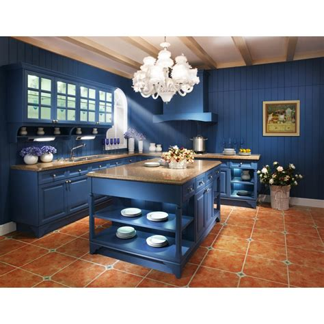 mediterranean style blue color painting kitchen cabinet