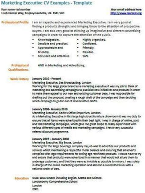 Marketing Resume Exles 2012 by Marketing Executive Cv Exle Uk Vacancies