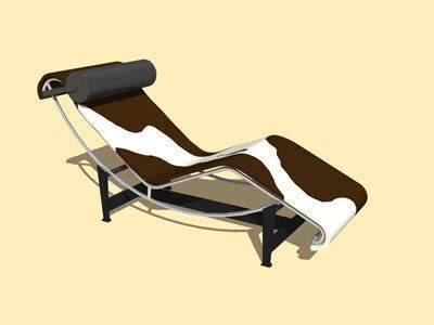 le corbusier leather chaise lounge chair  dwg model