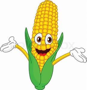 Cheerful cartoon corn raising his ... | Stock vector ...