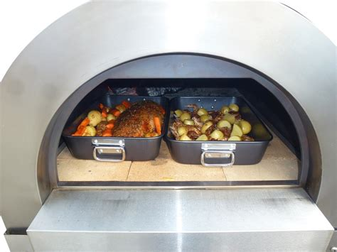 large stainless steel wood fired pizza oven