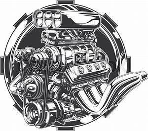 A Vector Illustration Of Cool Detailed Hot Road Engine