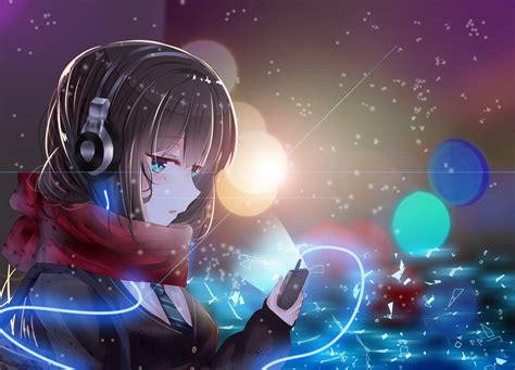anime girls anime headphones scarf shibuya rin