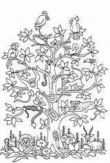 Tree Butterflies Monkey Coloring Adult Birds Bird Snake Difficult Pages Adults Even sketch template
