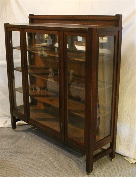 antique mission oak china  curio cabinet arts