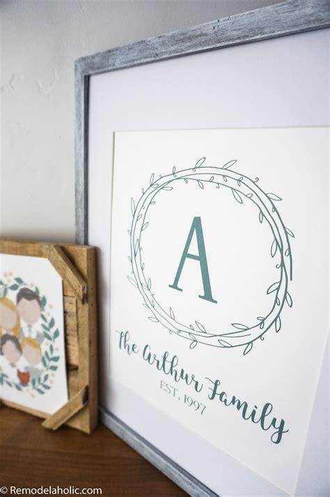 remodelaholic custom printable farmhouse monogram  art