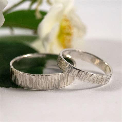 bark effect wedding bands in eco silver by fragment designs notonthehighstreet com
