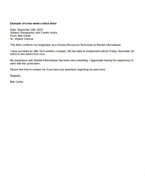 resignation letter 2 week notice 2 week notice letter 7 free word pdf documents
