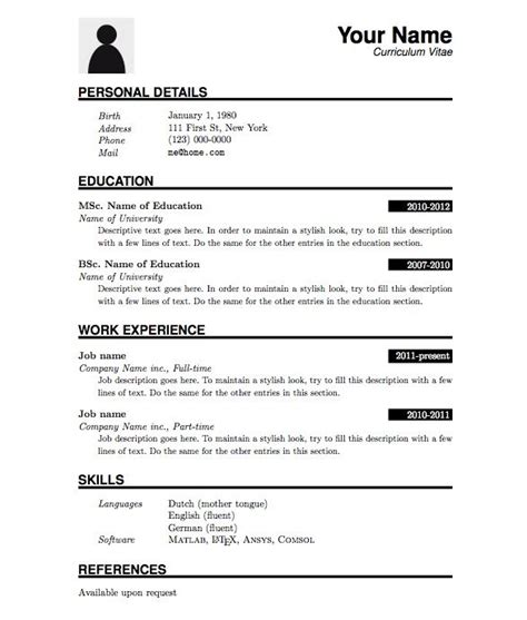 Simple Cv Format For by Image Result For Simple Cv Format In Word X