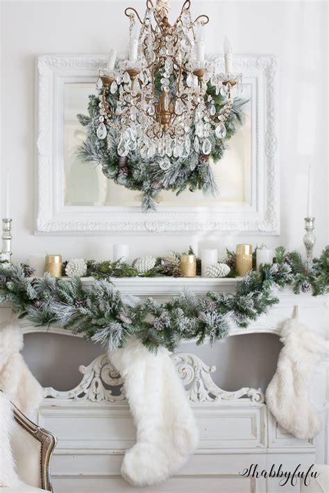 elegant glamorous white christmas living room