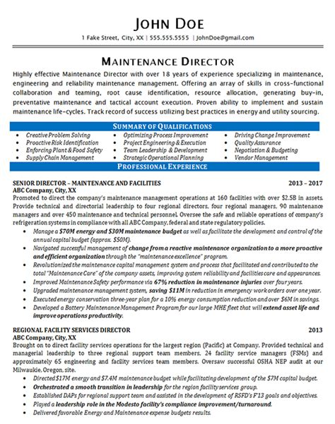 Maintenance Manager Resume by Maintenance Resume Exle Maintenance Director Manager