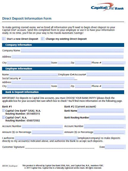 free capital one 360 direct deposit authorization form pdf