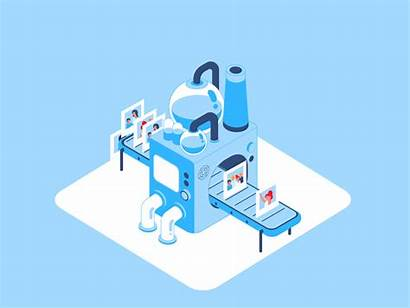 Isometric Processing Factory Memento App Animation Going