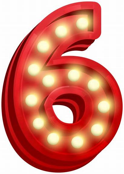 Six Number Clip Glowing Clipart Numbers Transparent