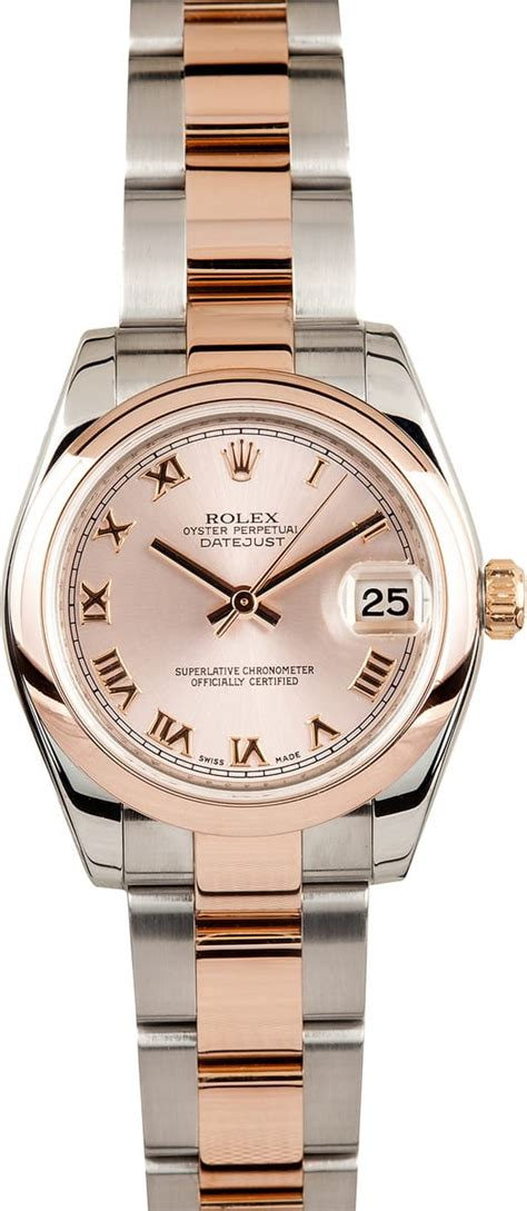 ladies rolex rose gold mid size  save  bobs watches