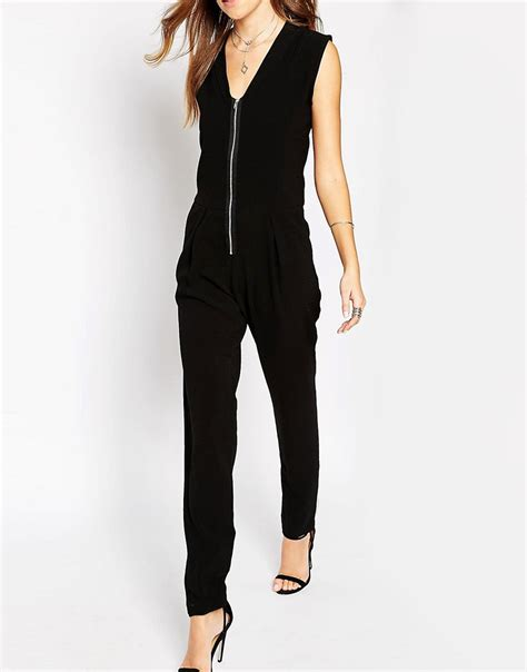 utility jumpsuit liquorish liquorish utility jumpsuit with zip front at asos