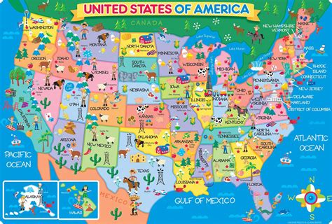 childrens usa map states stuff geography activities