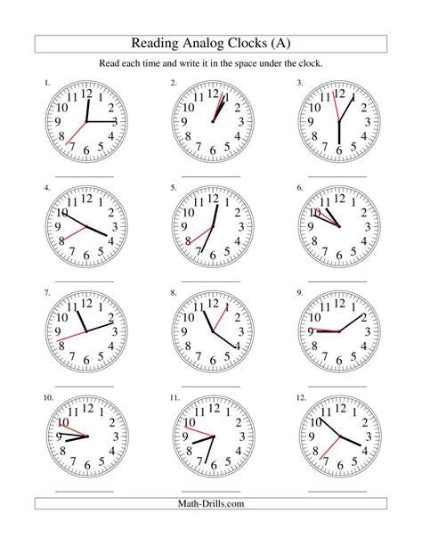 time worksheet   time worksheet analogue