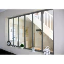 vitrage cuisine verrière atelier aluminium gris vitrage non fourni h 1 08 x l 1 83 m leroy merlin