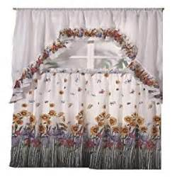 amazon com blossom printed kitchen curtain swag set home